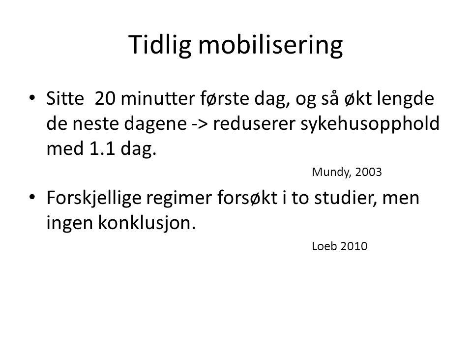 Tidlig mobilisering Sitte 20 minutter første dag, og så økt lengde de neste dagene -> reduserer sykehusopphold med 1.1 dag.
