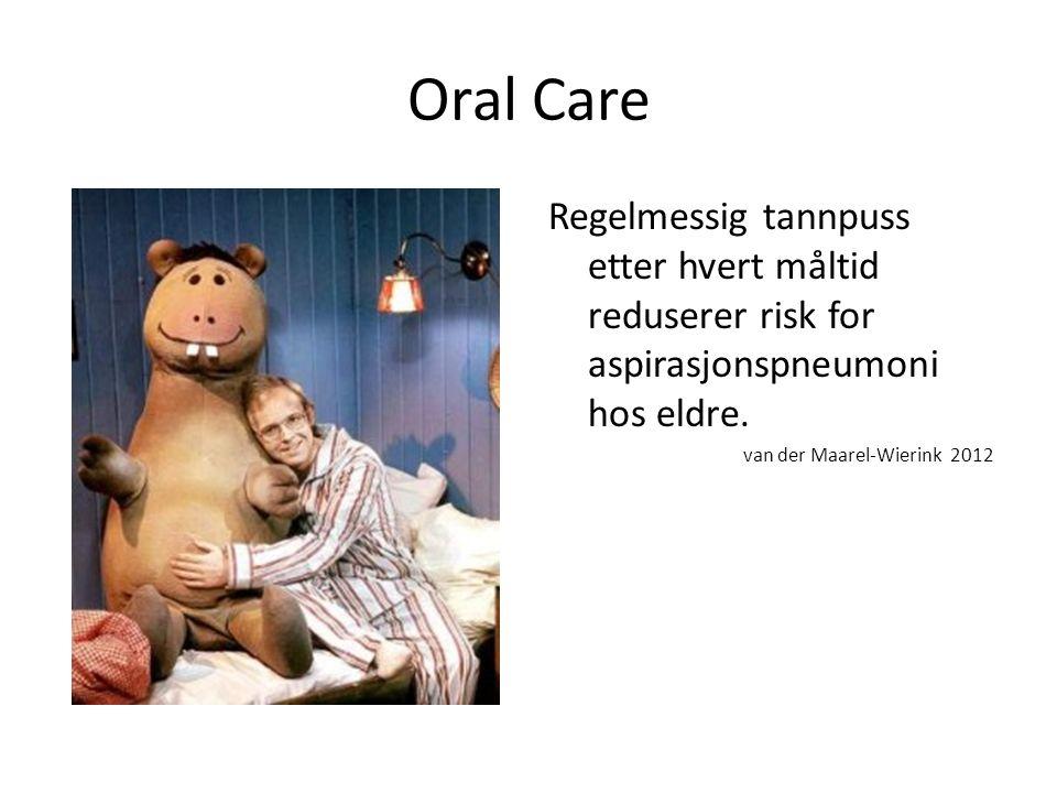 Oral Care Regelmessig tannpuss etter hvert måltid reduserer risk for aspirasjonspneumoni hos eldre.