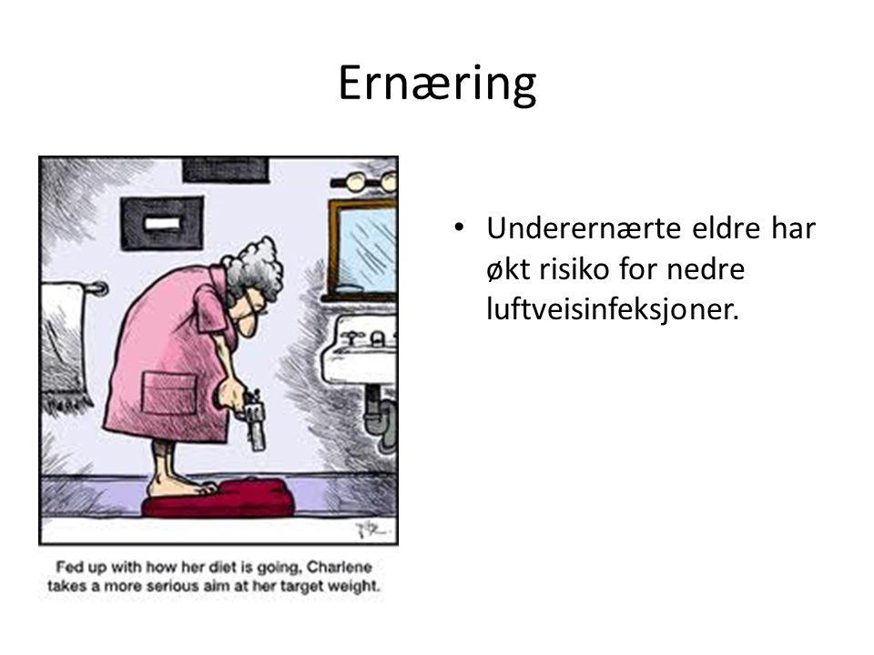 Ernæring Underernærte eldre har økt risiko for nedre luftveisinfeksjoner.