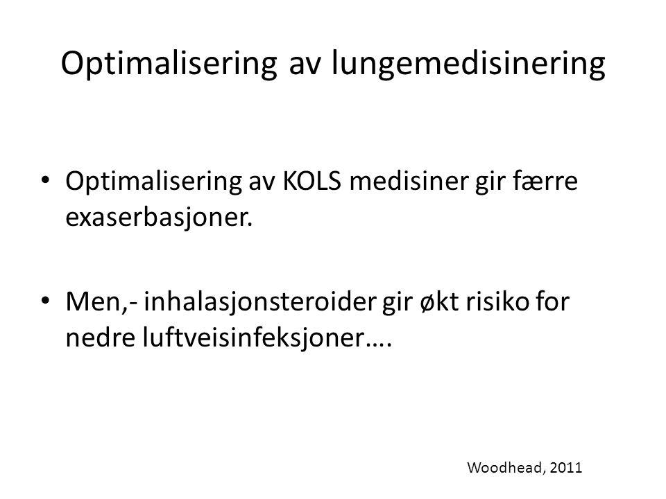 Optimalisering av lungemedisinering Optimalisering av KOLS medisiner gir færre exaserbasjoner. Men,- inhalasjonsteroider gir økt risiko for nedre luft