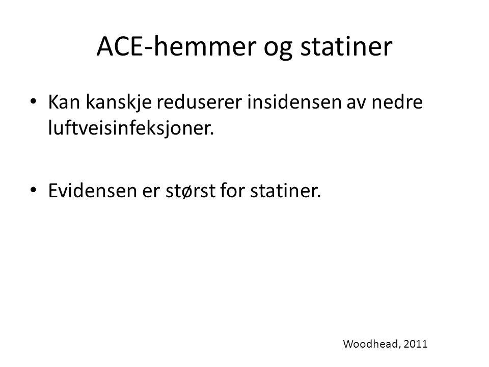 ACE-hemmer og statiner Kan kanskje reduserer insidensen av nedre luftveisinfeksjoner.