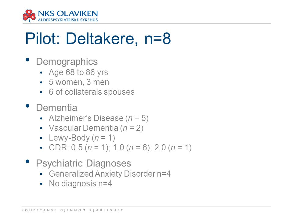 Pilot: Deltakere, n=8 Demographics Age 68 to 86 yrs 5 women, 3 men 6 of collaterals spouses Dementia Alzheimer's Disease (n = 5) Vascular Dementia (n = 2) Lewy-Body (n = 1) CDR: 0.5 (n = 1); 1.0 (n = 6); 2.0 (n = 1) Psychiatric Diagnoses Generalized Anxiety Disorder n=4 No diagnosis n=4