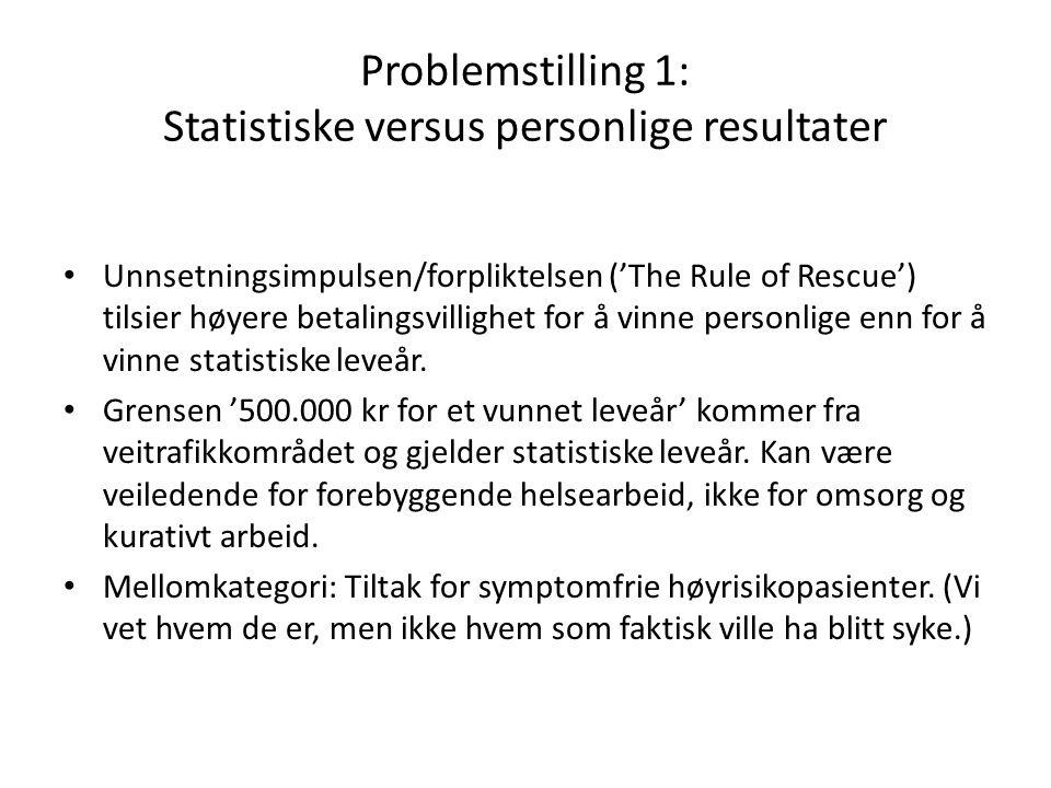 Problemstilling 1: Statistiske versus personlige resultater Unnsetningsimpulsen/forpliktelsen ('The Rule of Rescue') tilsier høyere betalingsvillighet for å vinne personlige enn for å vinne statistiske leveår.