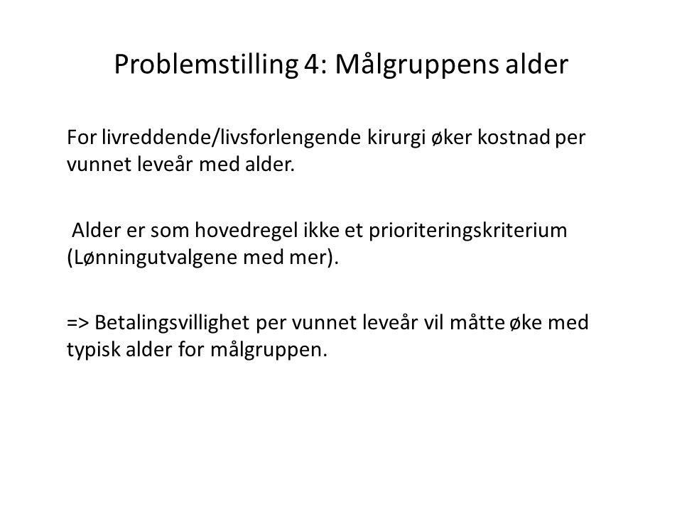 Problemstilling 4: Målgruppens alder For livreddende/livsforlengende kirurgi øker kostnad per vunnet leveår med alder. Alder er som hovedregel ikke et