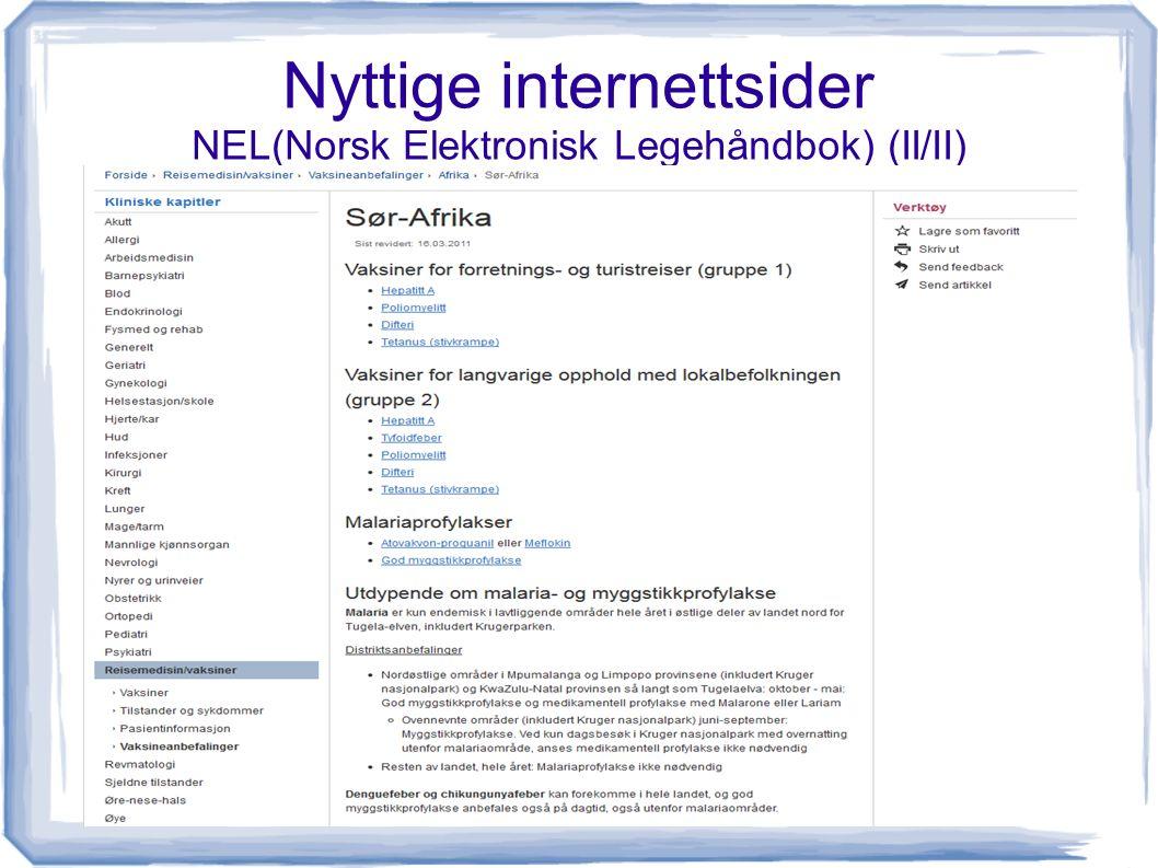 Nyttige internettsider NEL(Norsk Elektronisk Legehåndbok) (II/II)