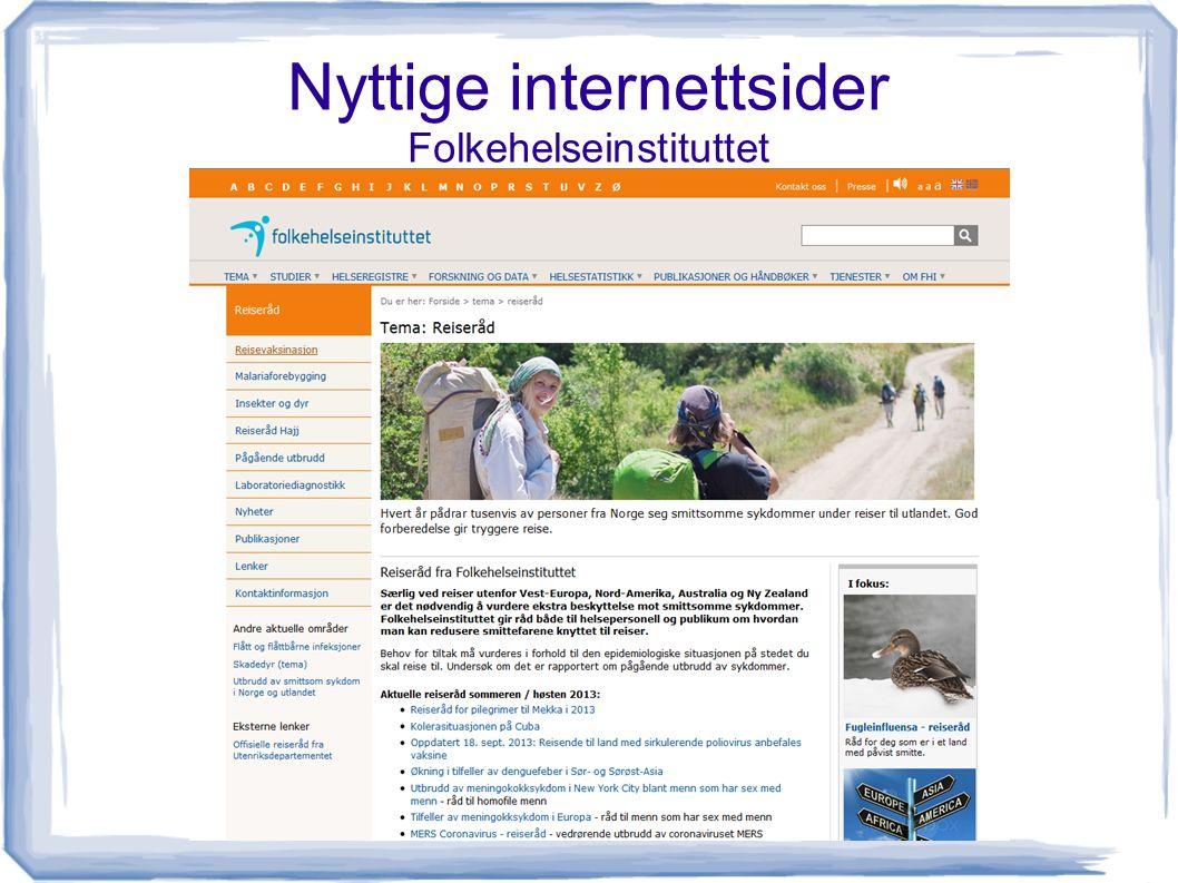 Nyttige internettsider Folkehelseinstituttet