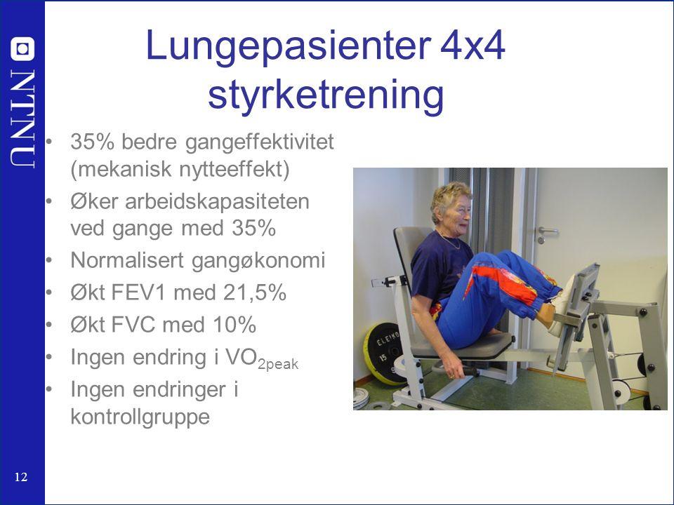 Lungepasienter 4x4 styrketrening 35% bedre gangeffektivitet (mekanisk nytteeffekt) Øker arbeidskapasiteten ved gange med 35% Normalisert gangøkonomi Økt FEV1 med 21,5% Økt FVC med 10% Ingen endring i VO 2peak Ingen endringer i kontrollgruppe 12