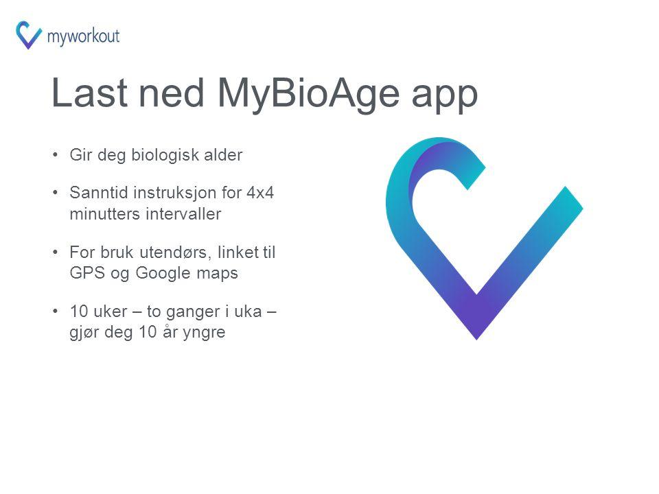Last ned MyBioAge app Gir deg biologisk alder Sanntid instruksjon for 4x4 minutters intervaller For bruk utendørs, linket til GPS og Google maps 10 uker – to ganger i uka – gjør deg 10 år yngre