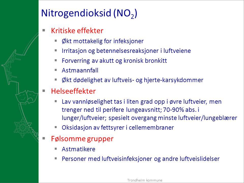 Nitrogendioksid (NO 2 )  Kritiske effekter  Økt mottakelig for infeksjoner  Irritasjon og betennelsesreaksjoner i luftveiene  Forverring av akutt og kronisk bronkitt  Astmaannfall  Økt dødelighet av luftveis- og hjerte-karsykdommer  Helseeffekter  Lav vannløselighet tas i liten grad opp i øvre luftveier, men trenger ned til perifere lungeavsnitt; 70-90% abs.
