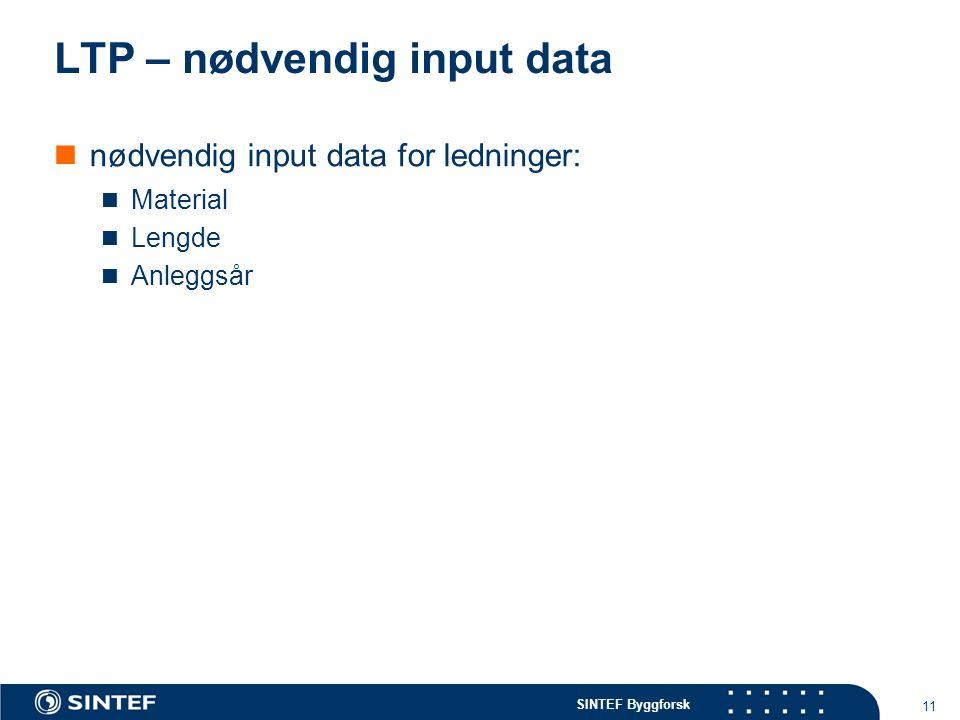 SINTEF Byggforsk 11 LTP – nødvendig input data nødvendig input data for ledninger: Material Lengde Anleggsår