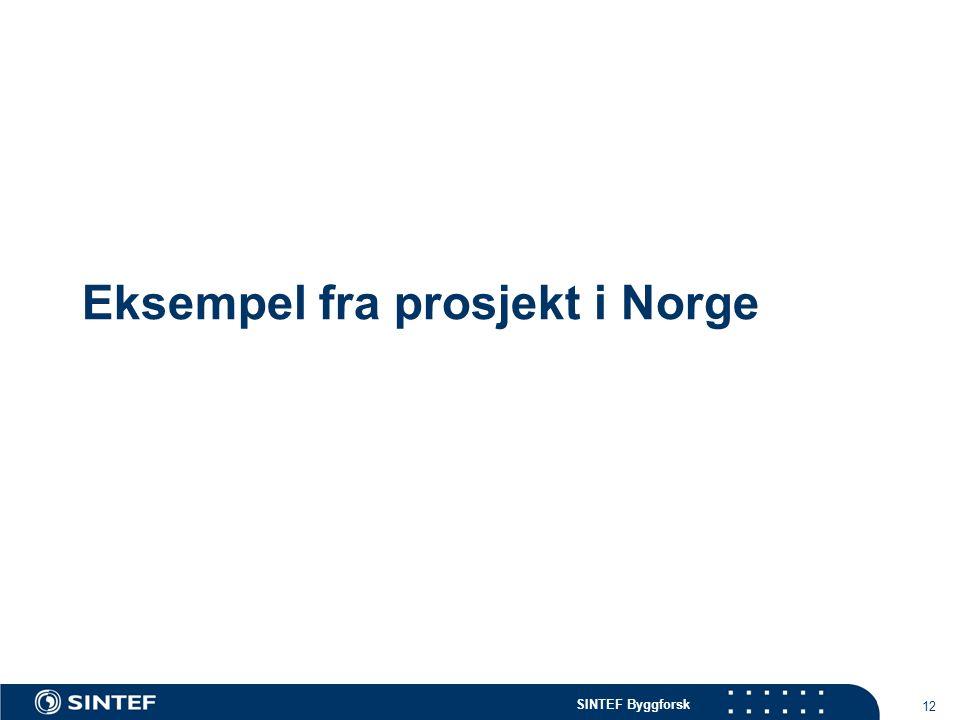 SINTEF Byggforsk 12 Eksempel fra prosjekt i Norge