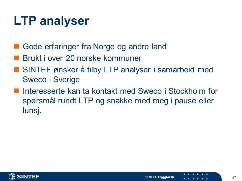 SINTEF Byggforsk 27 LTP analyser Gode erfaringer fra Norge og andre land Brukt i over 20 norske kommuner SINTEF ønsker å tilby LTP analyser i samarbeid med Sweco i Sverige Interesserte kan ta kontakt med Sweco i Stockholm for spørsmål rundt LTP og snakke med meg i pause eller lunsj.