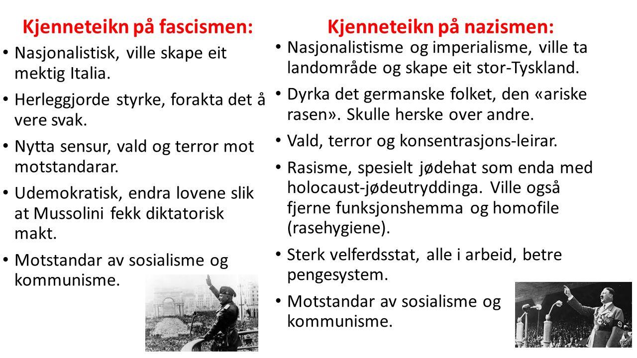 Kjenneteikn på fascismen: Nasjonalistisk, ville skape eit mektig Italia.