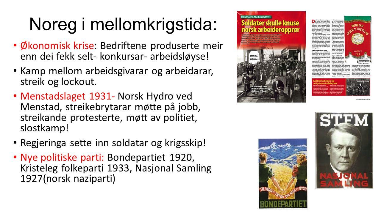 Noreg i mellomkrigstida: Økonomisk krise: Bedriftene produserte meir enn dei fekk selt- konkursar- arbeidsløyse.