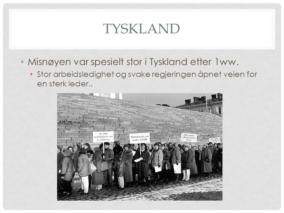 TYSKLAND Misnøyen var spesielt stor i Tyskland etter 1ww. Stor arbeidsledighet og svake regjeringen åpnet veien for en sterk leder..