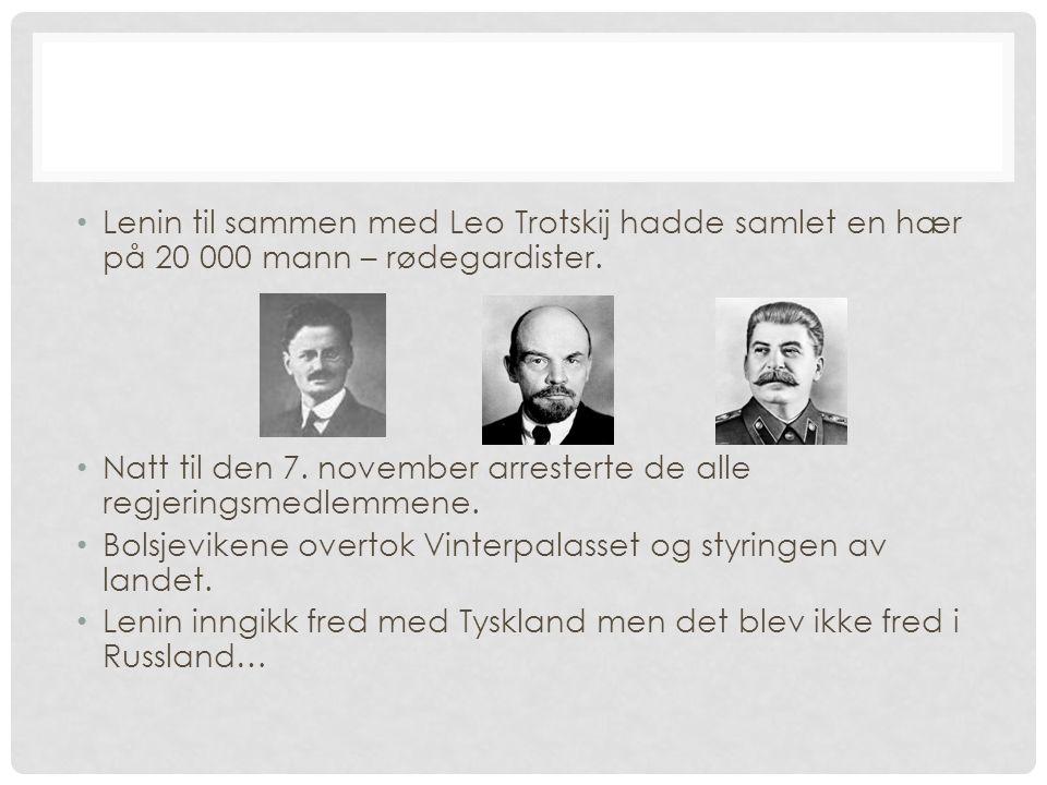 Lenin til sammen med Leo Trotskij hadde samlet en hær på 20 000 mann – rødegardister. Natt til den 7. november arresterte de alle regjeringsmedlemmene