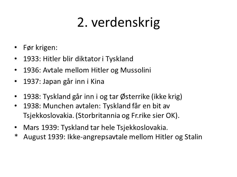 2. verdenskrig Før krigen: 1933: Hitler blir diktator i Tyskland 1936: Avtale mellom Hitler og Mussolini 1937: Japan går inn i Kina 1938: Tyskland går