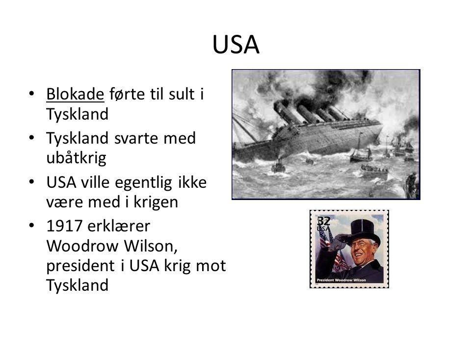 USA Blokade førte til sult i Tyskland Tyskland svarte med ubåtkrig USA ville egentlig ikke være med i krigen 1917 erklærer Woodrow Wilson, president i USA krig mot Tyskland
