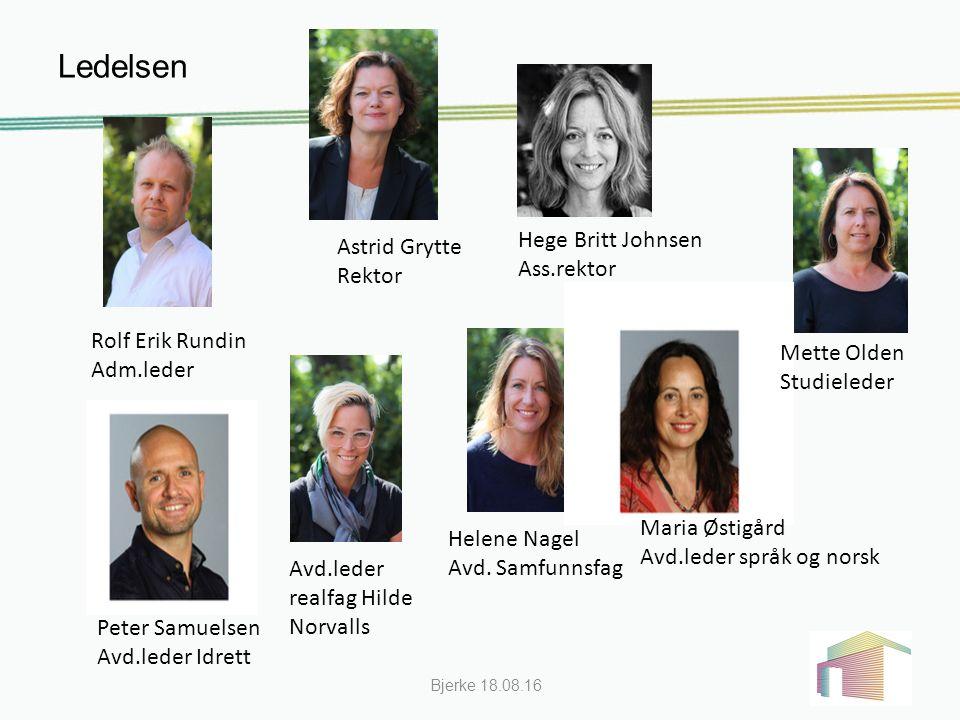 Ledelsen Bjerke 18.08.16 Rolf Erik Rundin Adm.leder Astrid Grytte Rektor Hege Britt Johnsen Ass.rektor Mette Olden Studieleder Helene Nagel Avd.