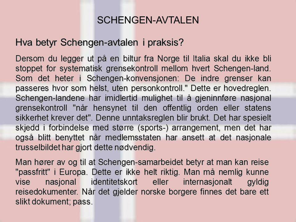 SCHENGEN-AVTALEN Dersom du legger ut på en biltur fra Norge til Italia skal du ikke bli stoppet for systematisk grensekontroll mellom hvert Schengen-land.