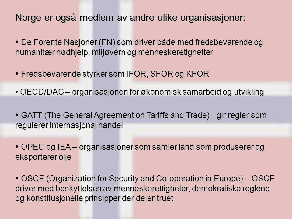 Norge er også medlem av andre ulike organisasjoner: De Forente Nasjoner (FN) som driver både med fredsbevarende og humanitær nødhjelp, miljøvern og menneskeretighetter Fredsbevarende styrker som IFOR, SFOR og KFOR OECD/DAC – organisasjonen for økonomisk samarbeid og utvikling OECD/DAC – organisasjonen for økonomisk samarbeid og utvikling GATT (The General Agreement on Tariffs and Trade) - gir regler som regulerer internasjonal handel OPEC og IEA – organisasjoner som samler land som produserer og eksporterer olje OSCE (Organization for Security and Co-operation in Europe) – OSCE driver med beskyttelsen av menneskerettigheter, demokratiske reglene og konstitusjonelle prinsipper der de er truet