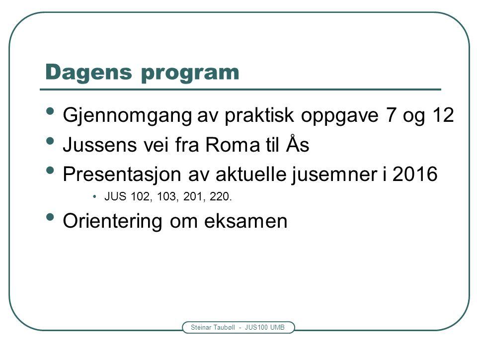 Steinar Taubøll - JUS100 UMB Dagens program Gjennomgang av praktisk oppgave 7 og 12 Jussens vei fra Roma til Ås Presentasjon av aktuelle jusemner i 2016 JUS 102, 103, 201, 220.