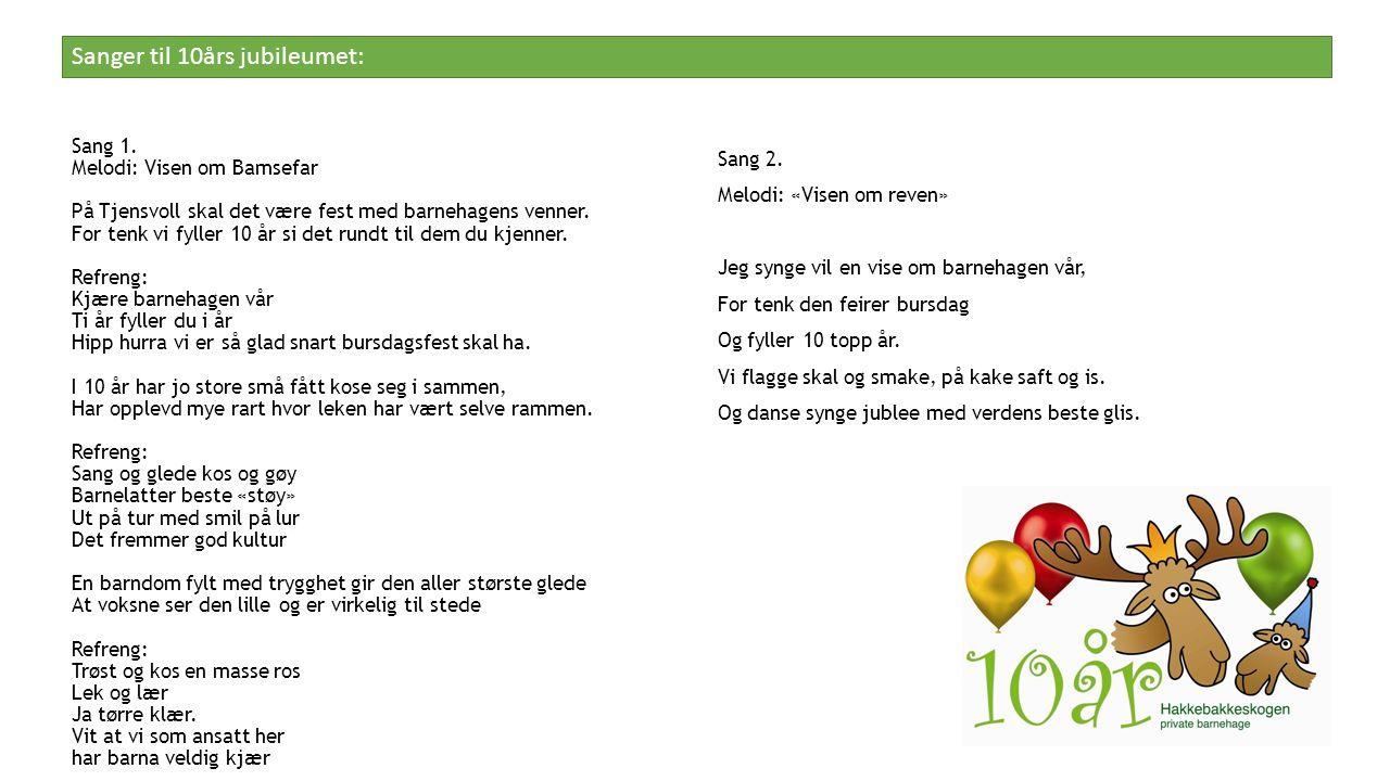 Sang 1. Melodi: Visen om Bamsefar På Tjensvoll skal det være fest med barnehagens venner.