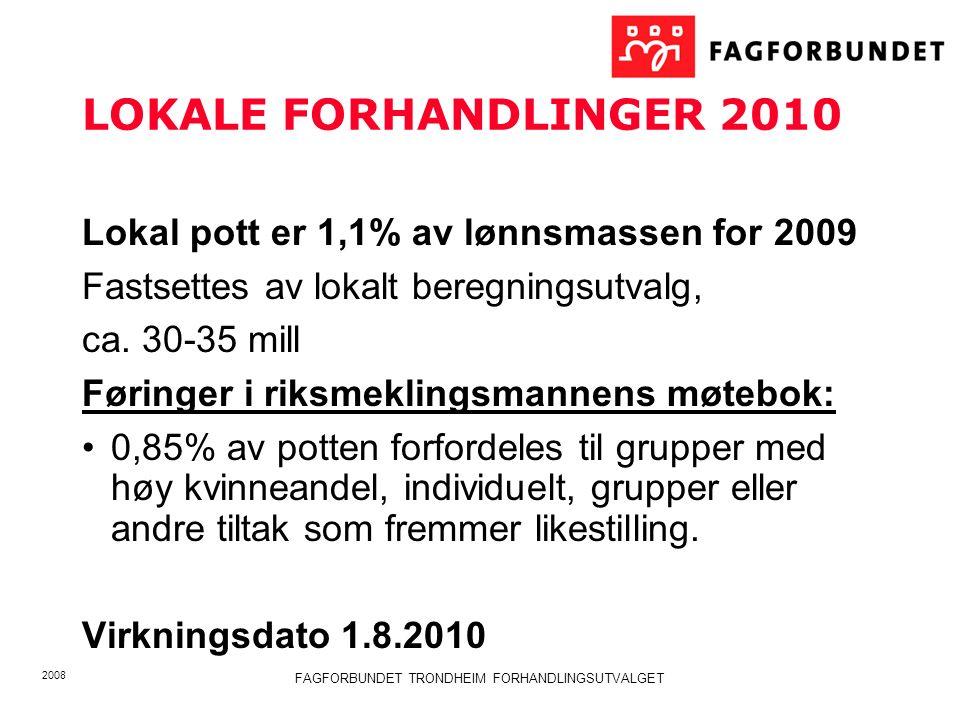 2008 FAGFORBUNDET TRONDHEIM FORHANDLINGSUTVALGET LOKALE FORHANDLINGER 2010 Lokal pott er 1,1% av lønnsmassen for 2009 Fastsettes av lokalt beregningsutvalg, ca.