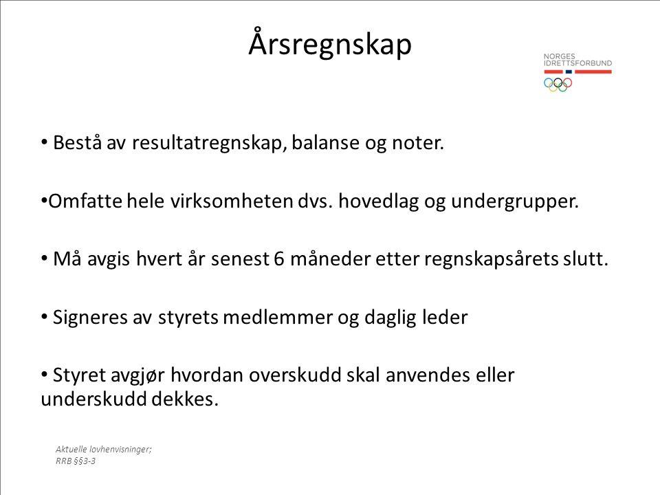Årsregnskap Bestå av resultatregnskap, balanse og noter.