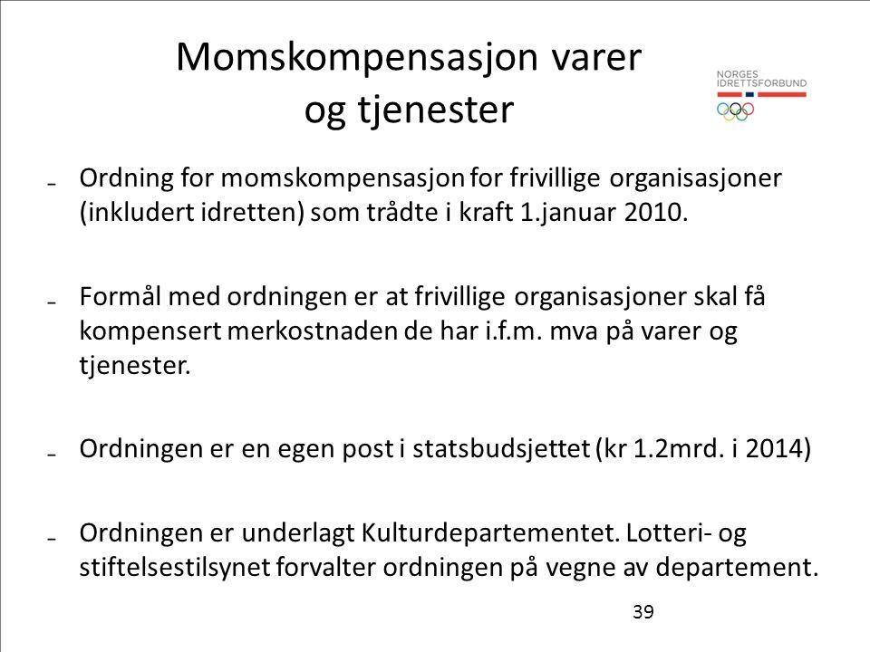 39 Momskompensasjon varer og tjenester ₋Ordning for momskompensasjon for frivillige organisasjoner (inkludert idretten) som trådte i kraft 1.januar 2010.