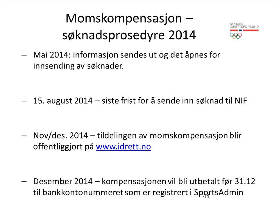 44 Momskompensasjon – søknadsprosedyre 2014 – Mai 2014: informasjon sendes ut og det åpnes for innsending av søknader.