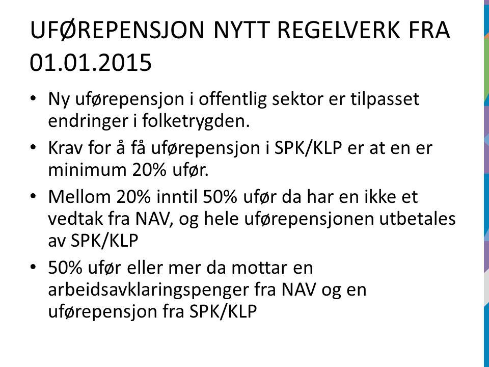 UFØREPENSJON NYTT REGELVERK FRA 01.01.2015 Ny uførepensjon i offentlig sektor er tilpasset endringer i folketrygden. Krav for å få uførepensjon i SPK/