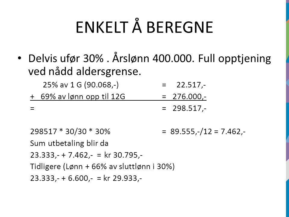 ENKELT Å BEREGNE Delvis ufør 30%. Årslønn 400.000. Full opptjening ved nådd aldersgrense. 25% av 1 G (90.068,-)=22.517,- + 69% av lønn opp til 12G = 2
