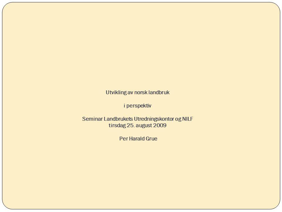 Disposisjon Utvikling i norsk landbruk Internasjonale rammebetingelser - WTO Klima Framtida