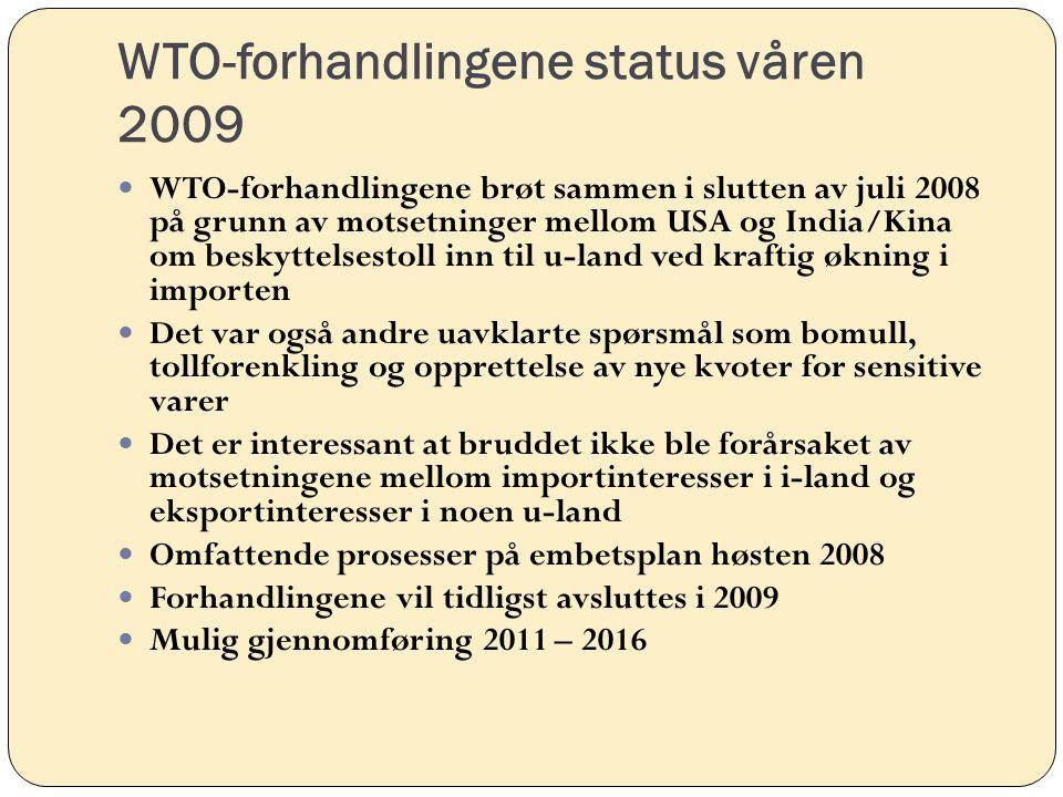 WTO-forhandlingene status våren 2009 WTO-forhandlingene brøt sammen i slutten av juli 2008 på grunn av motsetninger mellom USA og India/Kina om beskyttelsestoll inn til u-land ved kraftig økning i importen Det var også andre uavklarte spørsmål som bomull, tollforenkling og opprettelse av nye kvoter for sensitive varer Det er interessant at bruddet ikke ble forårsaket av motsetningene mellom importinteresser i i-land og eksportinteresser i noen u-land Omfattende prosesser på embetsplan høsten 2008 Forhandlingene vil tidligst avsluttes i 2009 Mulig gjennomføring 2011 – 2016