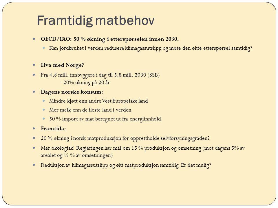 Framtidig matbehov OECD/FAO: 50 % økning i etterspørselen innen 2030.