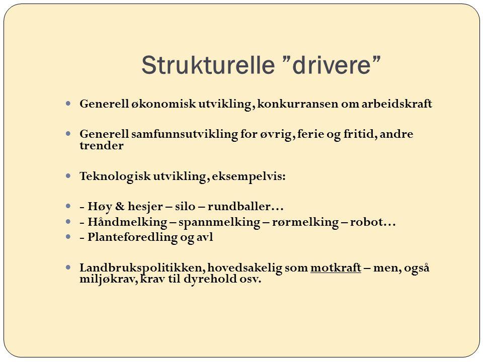 """Strukturelle """"drivere"""" Generell økonomisk utvikling, konkurransen om arbeidskraft Generell samfunnsutvikling for øvrig, ferie og fritid, andre trender"""