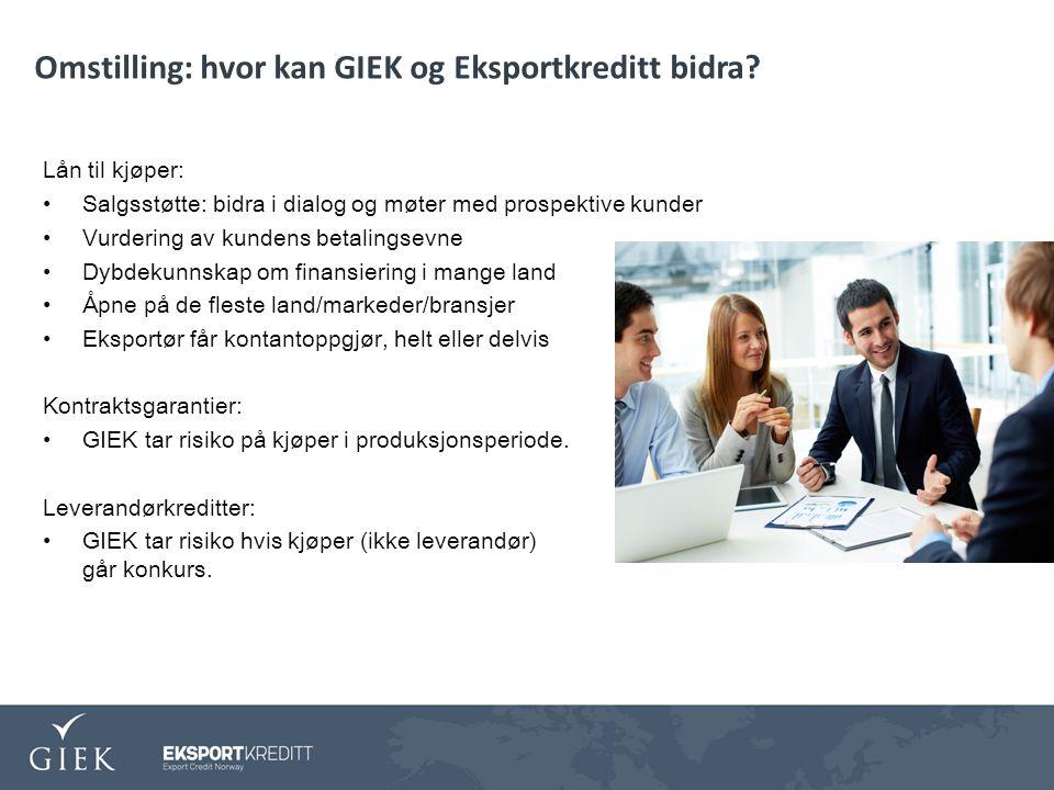 Omstilling: hvor kan GIEK og Eksportkreditt bidra.