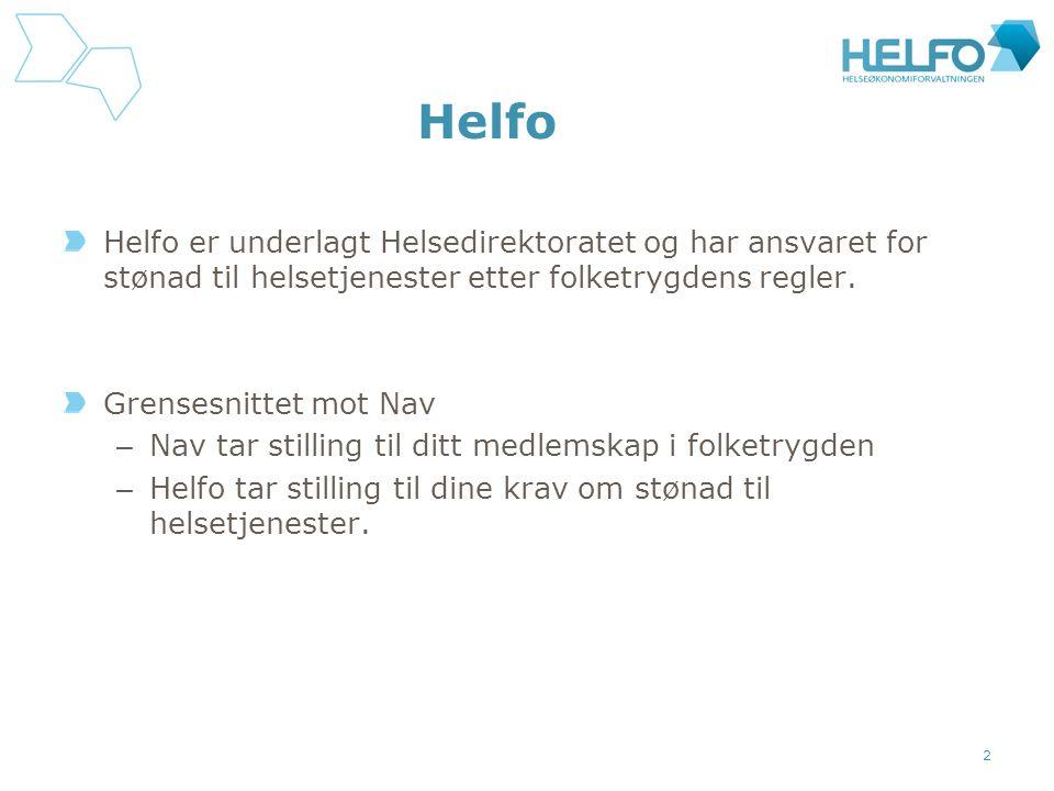 Helfo Helfo er underlagt Helsedirektoratet og har ansvaret for stønad til helsetjenester etter folketrygdens regler.