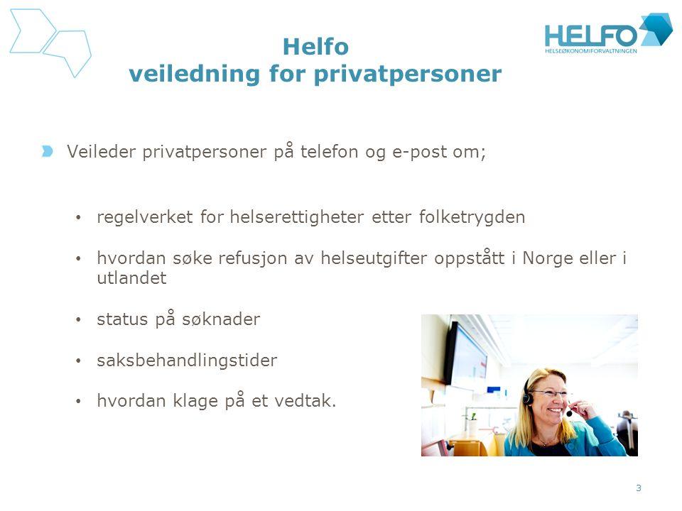Helfo veiledning for privatpersoner Veileder privatpersoner på telefon og e-post om; regelverket for helserettigheter etter folketrygden hvordan søke refusjon av helseutgifter oppstått i Norge eller i utlandet status på søknader saksbehandlingstider hvordan klage på et vedtak.