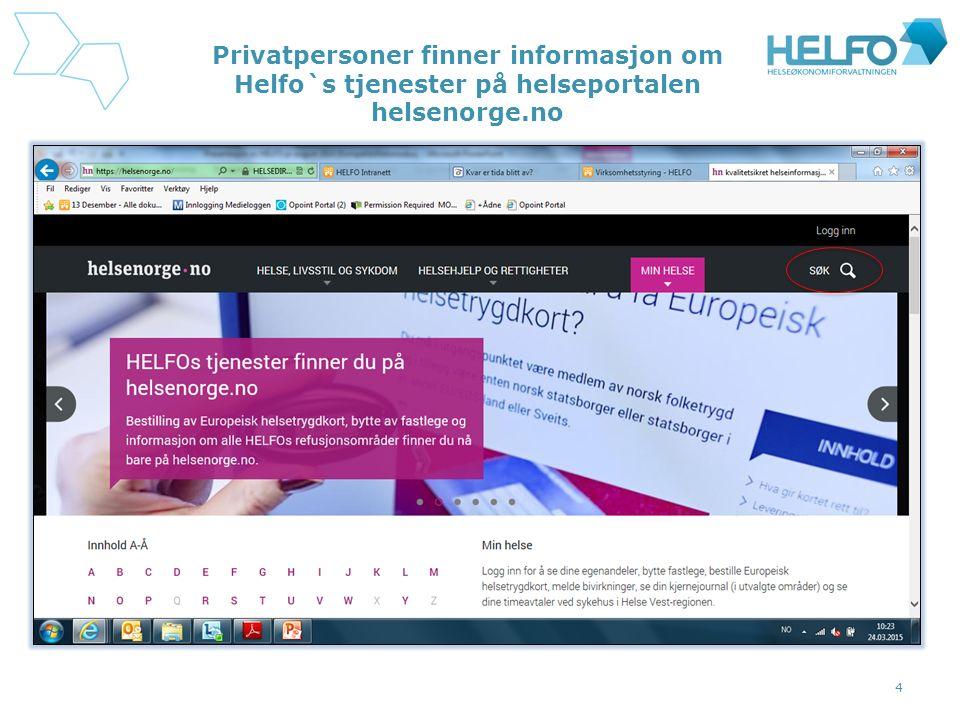 Privatpersoner finner informasjon om Helfo`s tjenester på helseportalen helsenorge.no 4