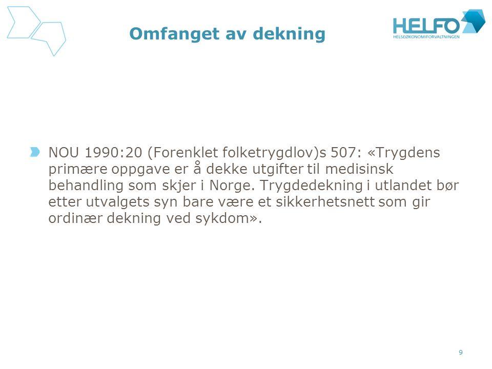 Omfanget av dekning NOU 1990:20 (Forenklet folketrygdlov)s 507: «Trygdens primære oppgave er å dekke utgifter til medisinsk behandling som skjer i Norge.