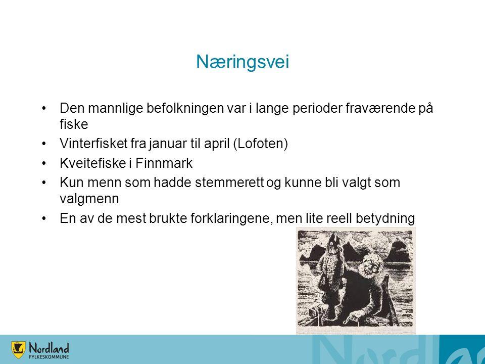 Næringsvei Den mannlige befolkningen var i lange perioder fraværende på fiske Vinterfisket fra januar til april (Lofoten) Kveitefiske i Finnmark Kun m