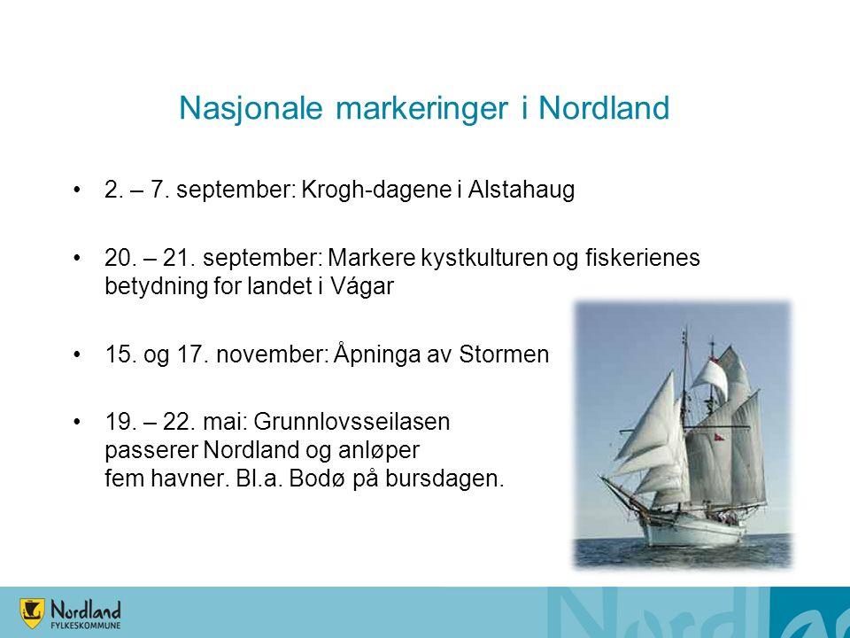 Nasjonale markeringer i Nordland 2. – 7. september: Krogh-dagene i Alstahaug 20. – 21. september: Markere kystkulturen og fiskerienes betydning for la