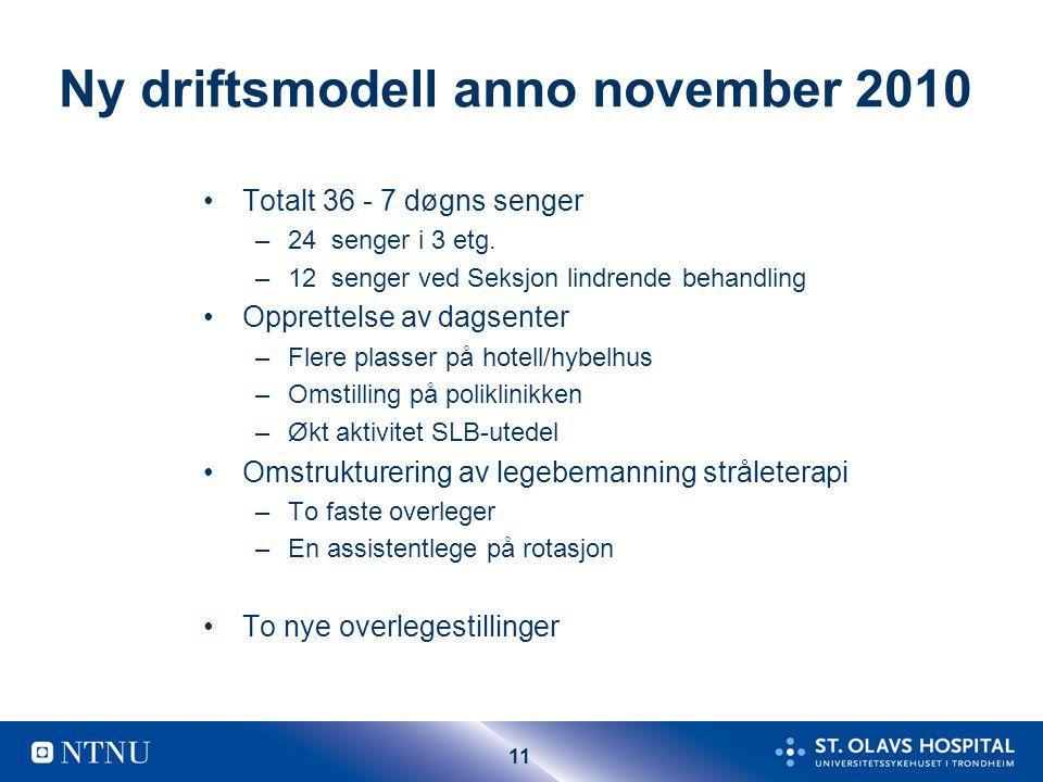 11 Ny driftsmodell anno november 2010 Totalt 36 - 7 døgns senger –24 senger i 3 etg. –12 senger ved Seksjon lindrende behandling Opprettelse av dagsen