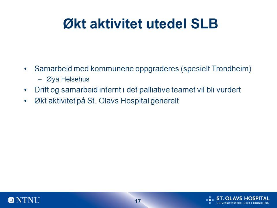 17 Økt aktivitet utedel SLB Samarbeid med kommunene oppgraderes (spesielt Trondheim) –Øya Helsehus Drift og samarbeid internt i det palliative teamet