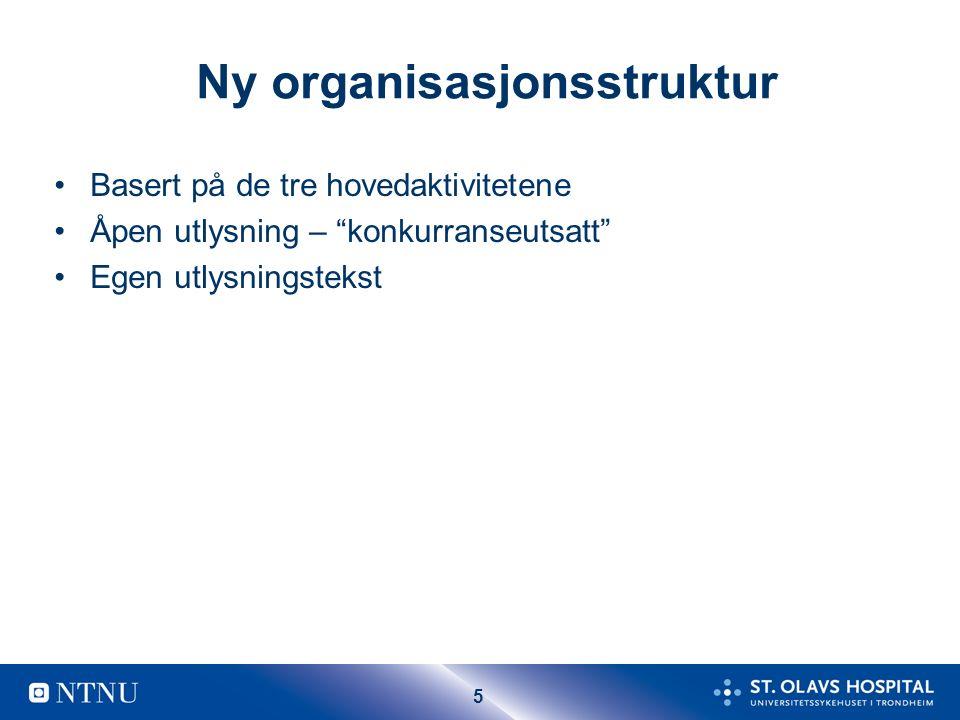 """5 Ny organisasjonsstruktur Basert på de tre hovedaktivitetene Åpen utlysning – """"konkurranseutsatt"""" Egen utlysningstekst"""