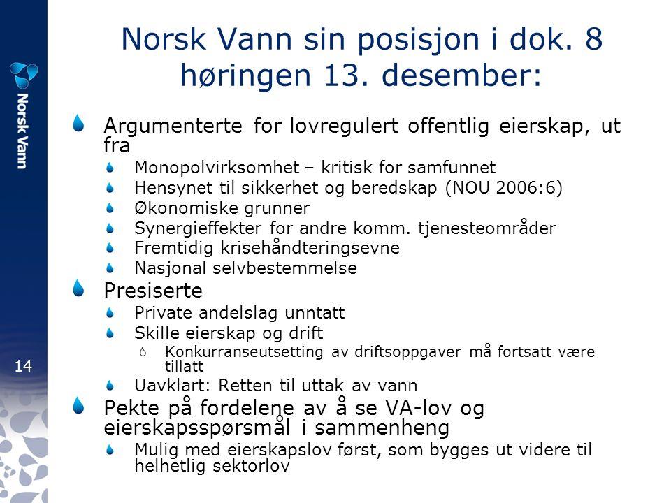 14 Norsk Vann sin posisjon i dok. 8 høringen 13.