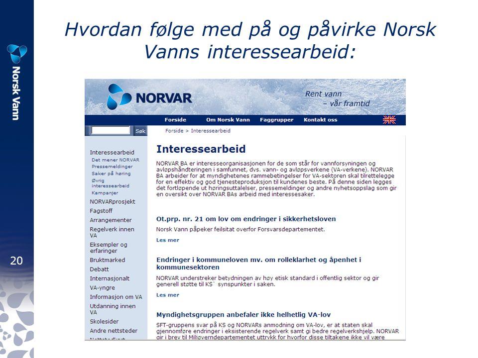 20 Hvordan følge med på og påvirke Norsk Vanns interessearbeid:
