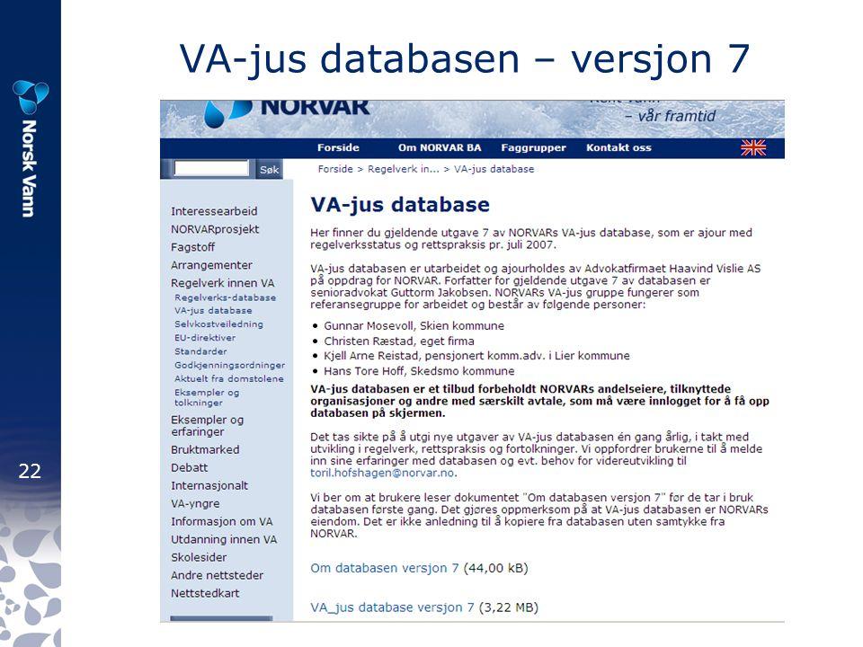 22 VA-jus databasen – versjon 7